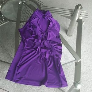 Body Central. Purple sleeveless ruffled blouse